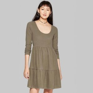 U-neck Brushed Knit Babydoll Mini Dress